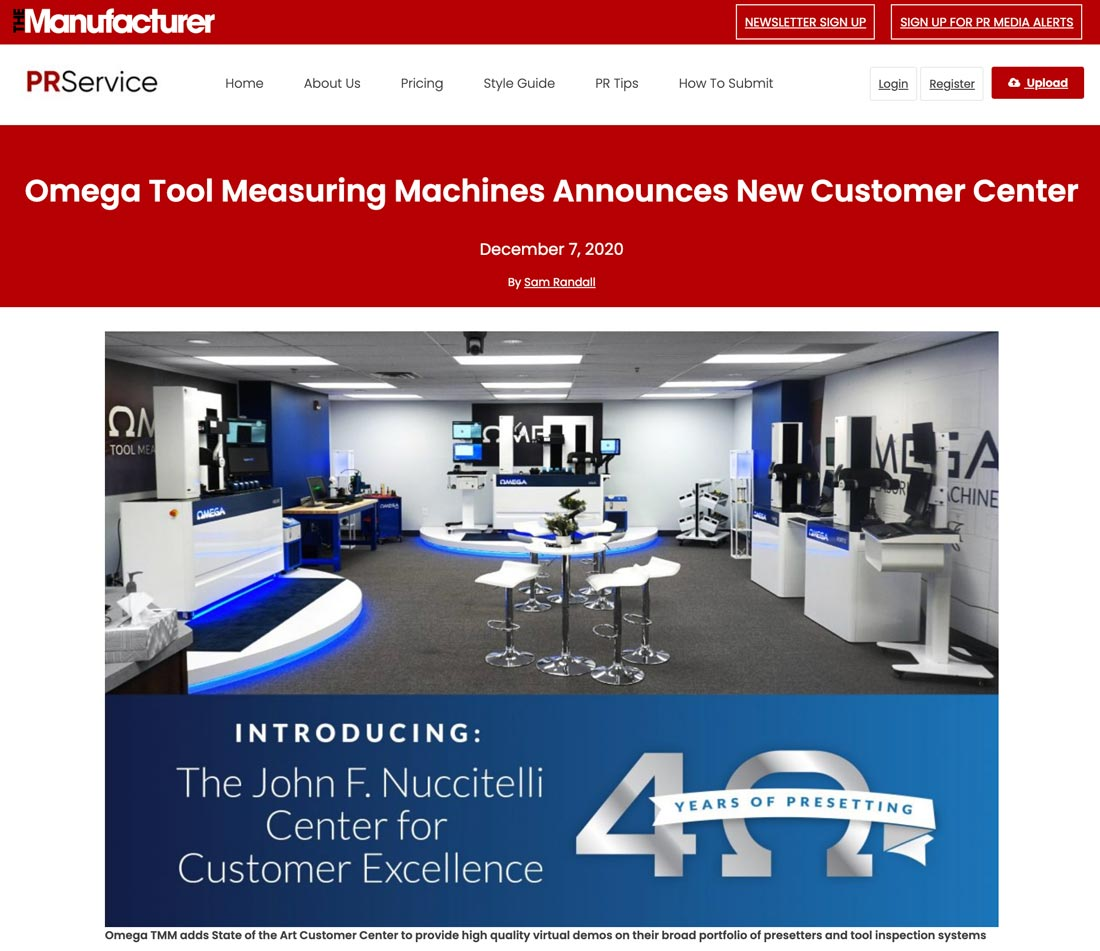 Omega Tool Measuring Machines Launches Center for Customer Excellence for their lineup of tool presetters and inspection systems